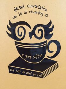 Monochrome illustration of a cup of coffee on a book | More on diywoman.net