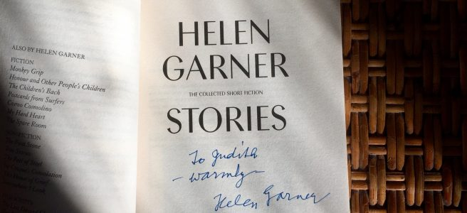 The personally inscribed front page of Helen Garner's 'Stories' signed by the author