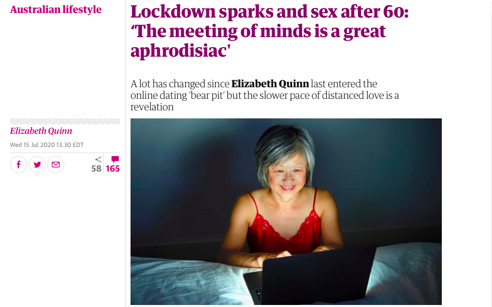 Guardian headlines with image of a woman looking at a laptop